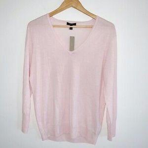 J.Crew Blush Pink Merino Wool V-Neck Sweater